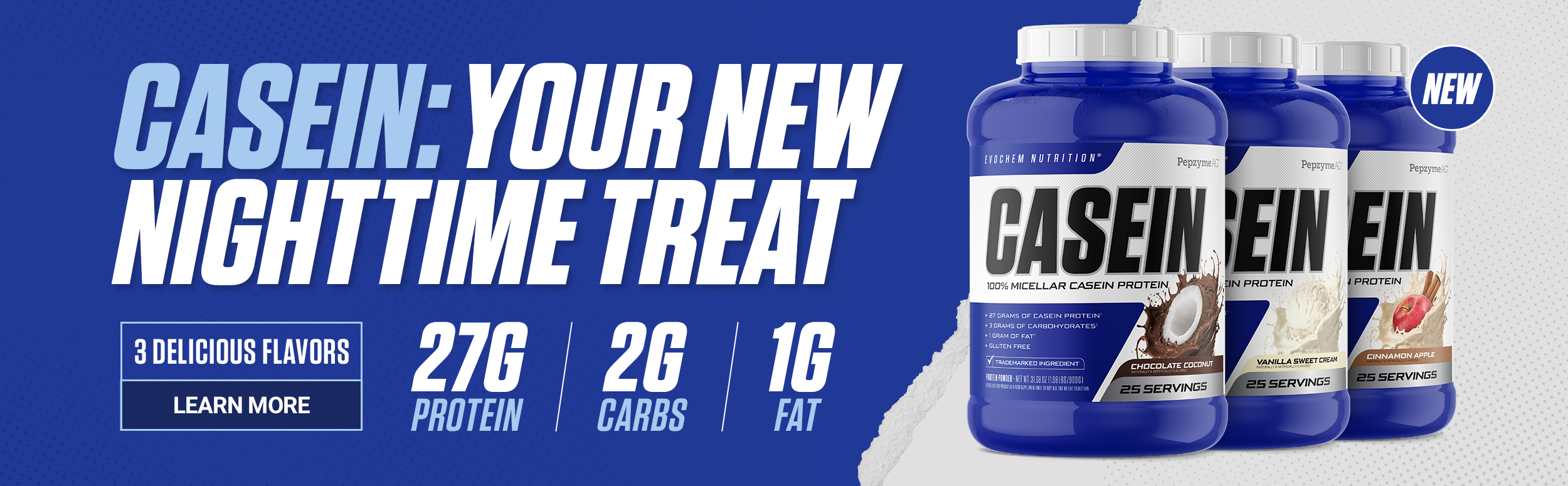 EVOchem Casein - Your New Nighttime Treat - 3 Delicious Flavors - Learn More