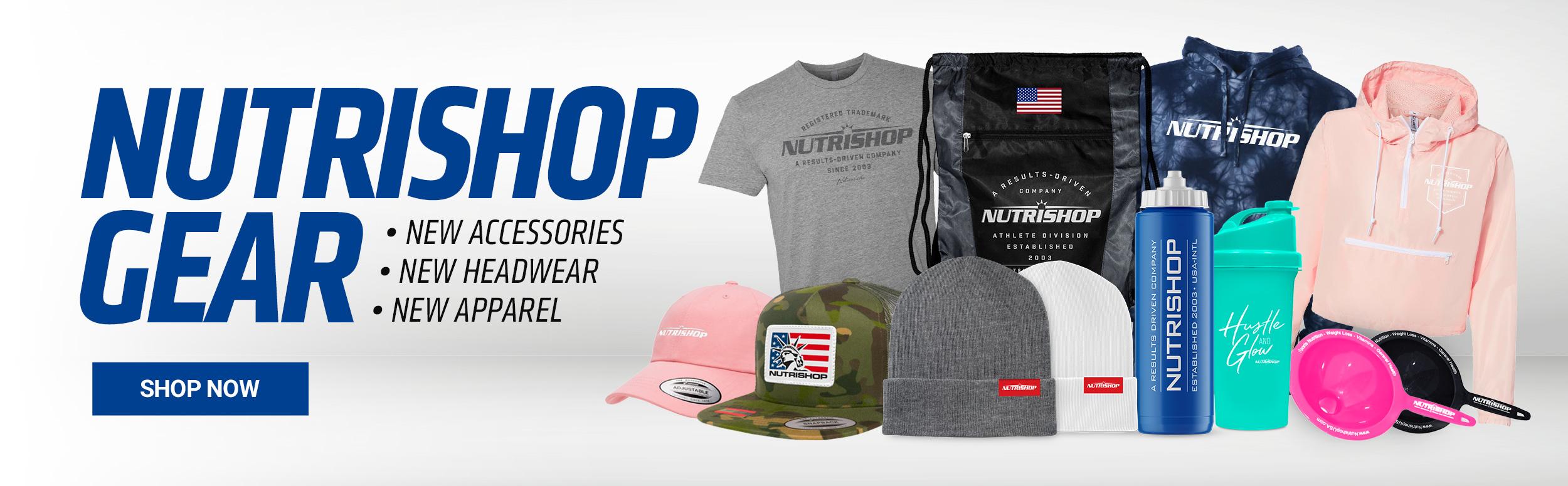 Nutrishop Gear - New Accessories - New Headwear - New Apparel - Shop Now