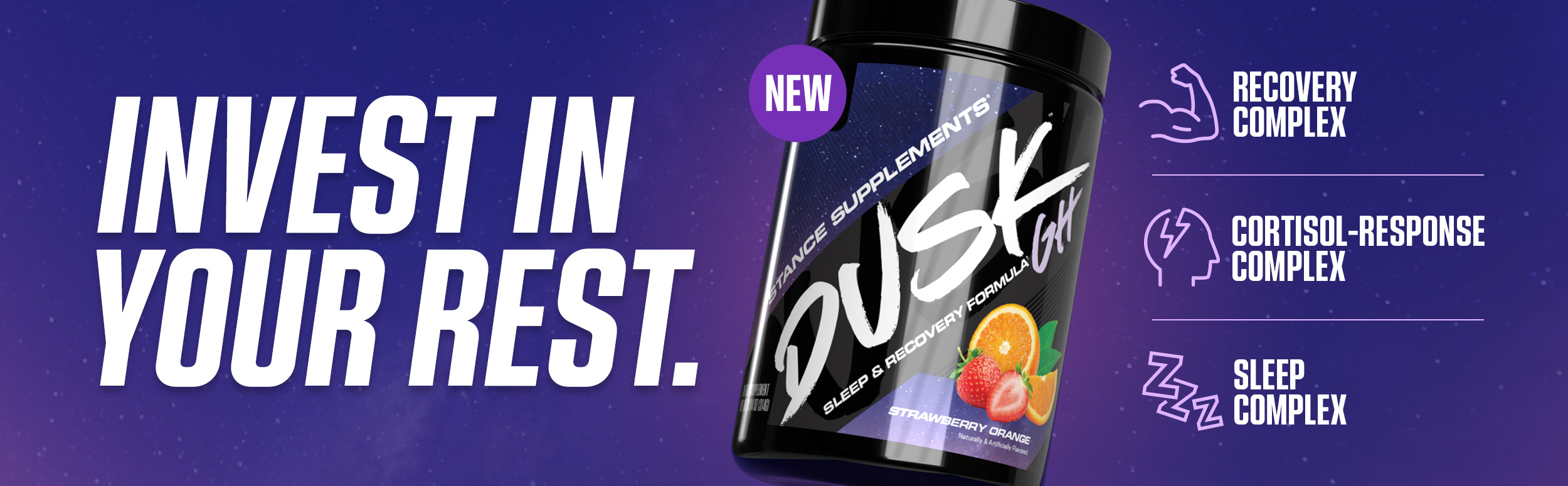 Invest in your rest. Dusk GH product carousel banner