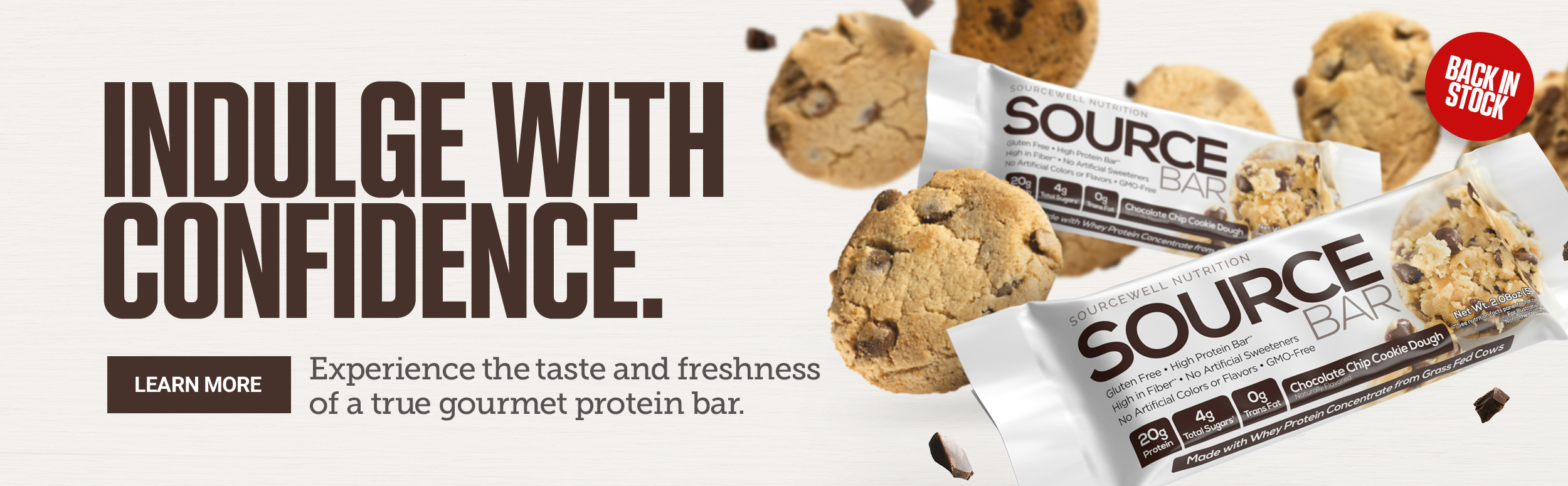 Source Bar Banner, Indulge with Confidence