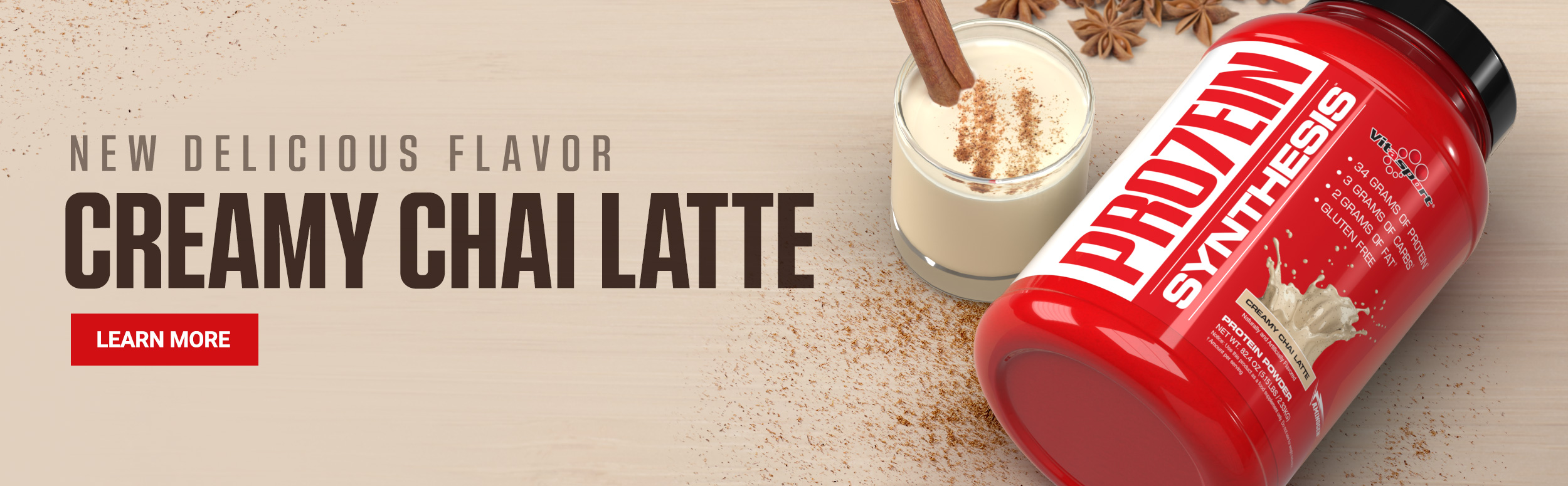 Creamy Chai Latte PRO7EIN Synthesis Banner