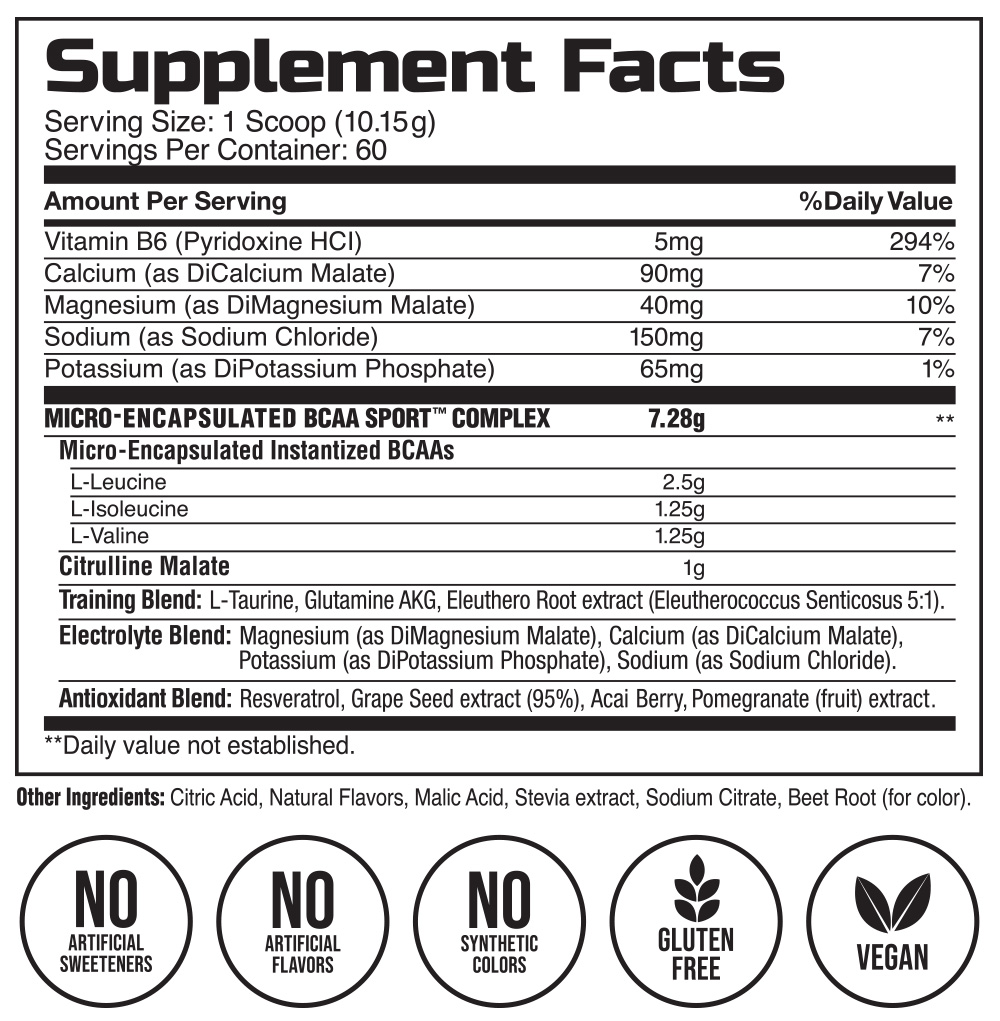 BCAA Sport Juicy Grapefruit Supplement Facts