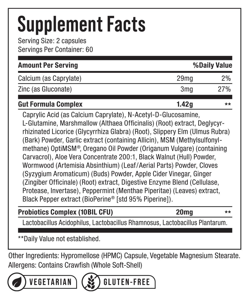 Nu-Tek Nutrition Gut Formula Supplement Facts