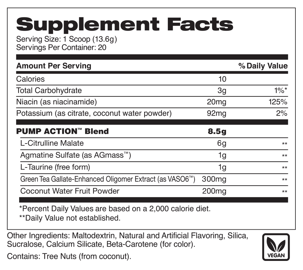 Image of supplement facts for Pump Action Pineapple Mango