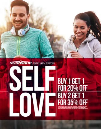 Nutrishop Febrary Special - Self Love - Buy 1 Get 1 For 20% Off; Buy 2 Get 1 For 35% Off; Not valid on sale items, cooler drinks, bars with VIP Cards or any other offers. One non-sale protein per purcahse. Discount applies to supplements only. Valid at participating store locations only. Valid from 2/1/2019 through 2/28/2019.